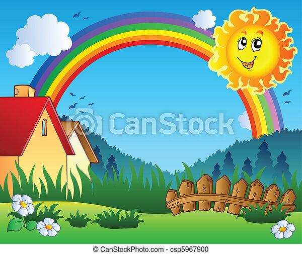 sole, paesaggio, arcobaleno - csp5967900
