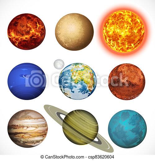 sole, pianeti, sistema, sfondo bianco, vettore, isolato, illustrazione, solare - csp83620604