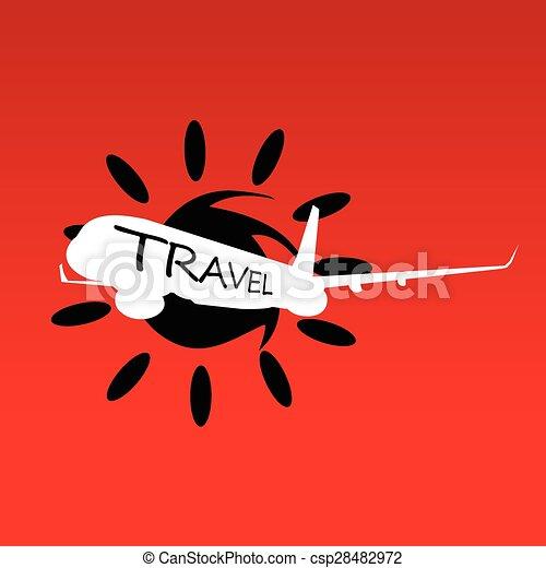 sole, viaggiare, vettore, aeroplano - csp28482972