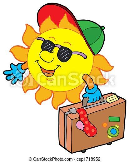 sole, viaggiatore, cartone animato - csp1718952