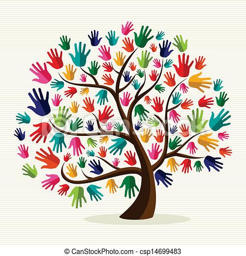 solidarietà, mano, colorito, albero - csp14699483