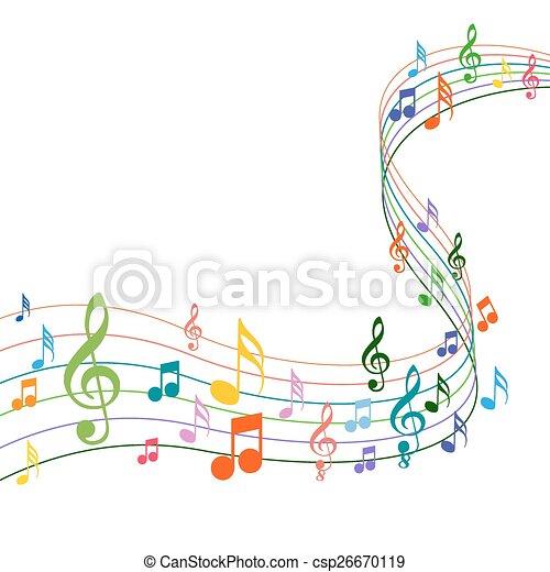solide, colorare, note, musica, fondo, bianco - csp26670119
