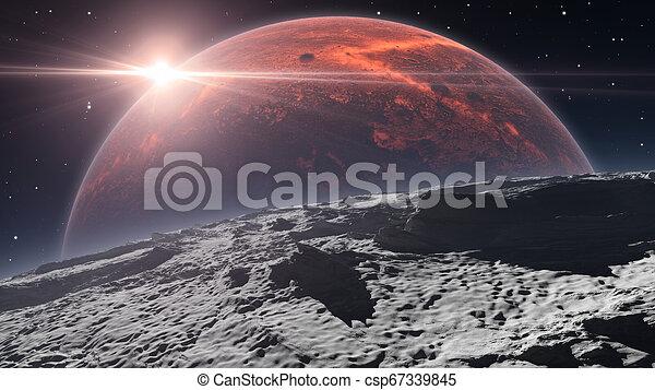 sopra, phobos, pianeta, alba, fondo, marte, rosso - csp67339845