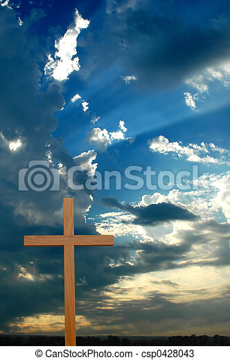 sopra, tramonto, croce, sunrays - csp0428043