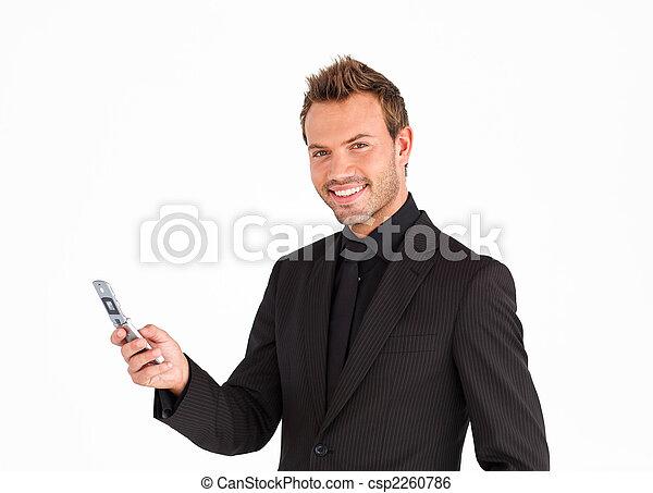 sorridente, macchina fotografica, texting, uomo affari, giovane - csp2260786