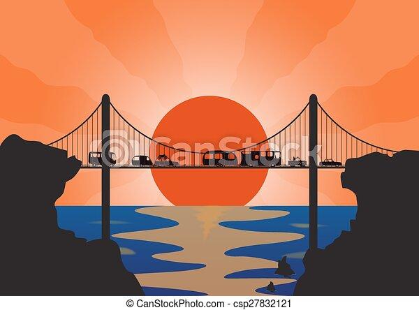 sospensione, vacanza, convoglio, ponte - csp27832121