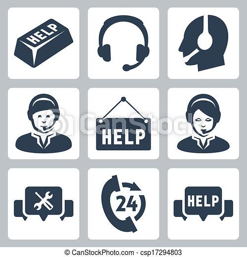 sostegno, set, centro, icone, vettore, chiamata - csp17294803