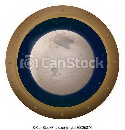 spazio, charon, finestra, luna - csp30035374