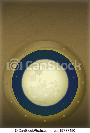 spazio, finestra, luna - csp19737480