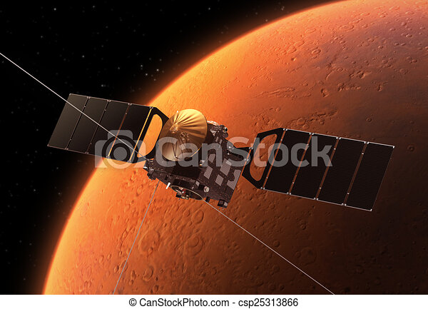 spazio, interplanetario, pianeta, stazione, marte, orbitare - csp25313866