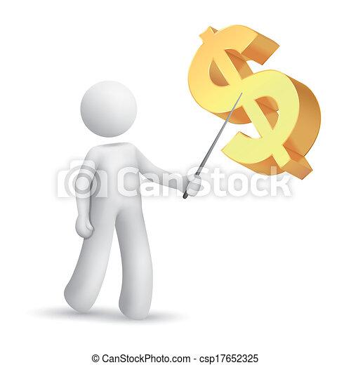 spiegando, simbolo, uomo, dollaro, 3d - csp17652325