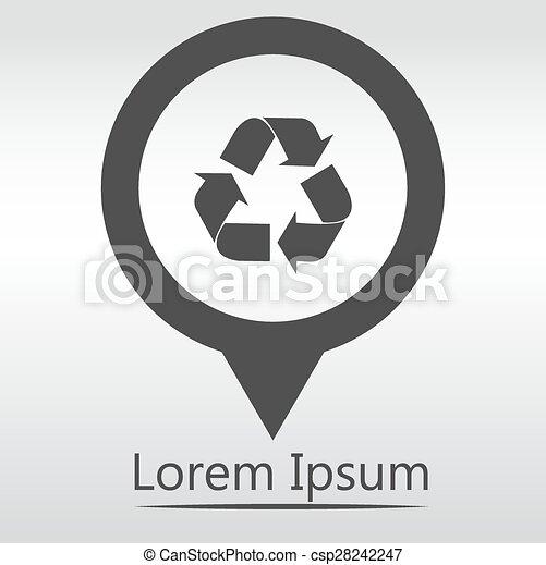 spillo mappa, simbolo., vettore, riciclare, icon. - csp28242247