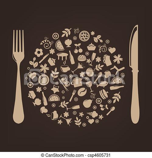spina, forma, ristorante, icone, sfera, coltello - csp4605731