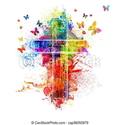 splatters, vernice, croce - csp36050979