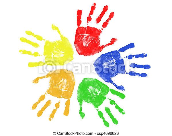 stampe, colorito, mano - csp4698826