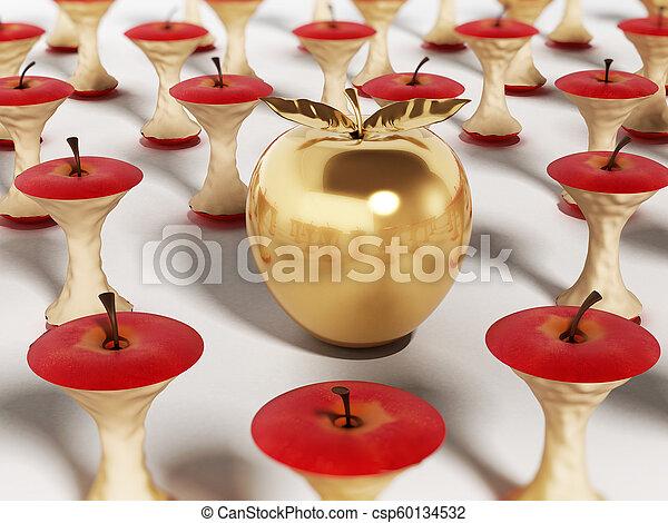 standing, mela dorata, illustrazione, mangiato, fuori, cores., 3d - csp60134532