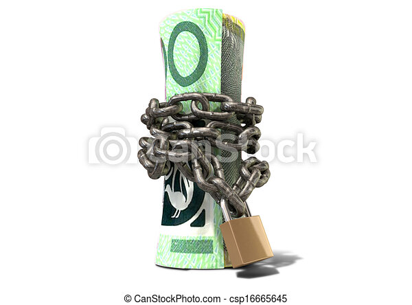 standing, rotolato, dollaro, su, shackled, australiano - csp16665645