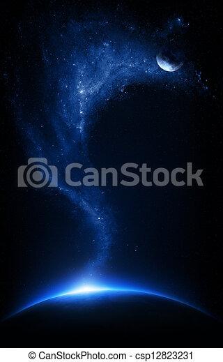 starfield, terra, collegato, luna - csp12823231