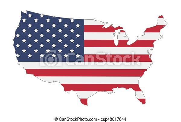 stati, mappa, bandiera, unito, america - csp48017844