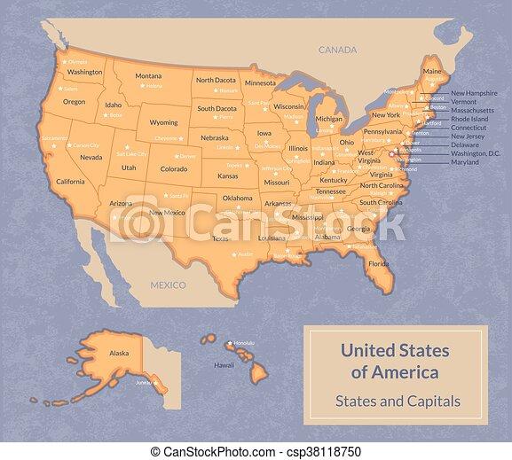 Usa Cartina Politica Con Capitali.Mappa Stati Uniti Con Capitali