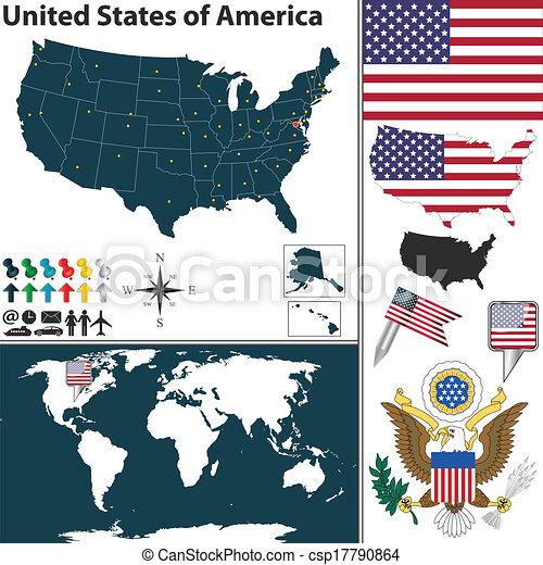 stati, mappa, unito, america - csp17790864