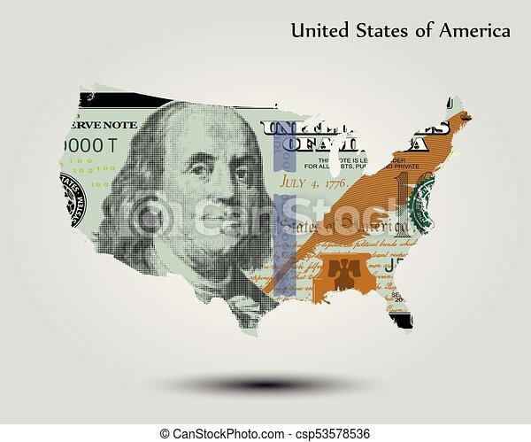 stati, mappa, unito, dollaro, america - csp53578536