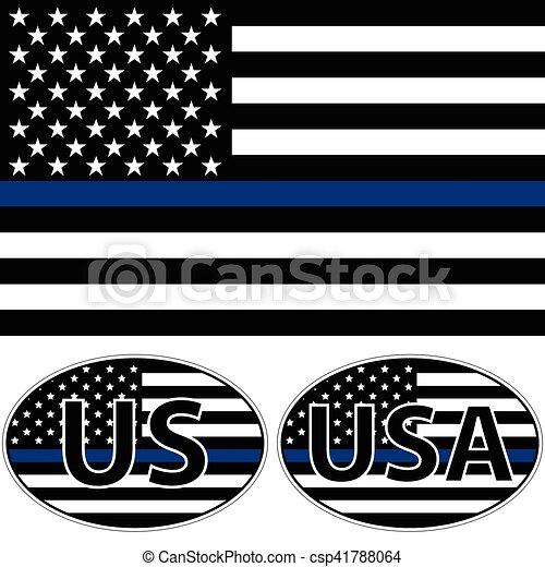 stati uniti, striscia, bandiera, blu - csp41788064