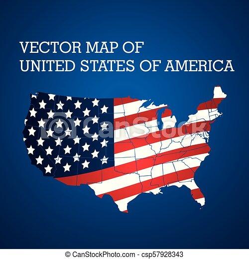 stati, unito, america, vettore, mappa, stilizzato - csp57928343