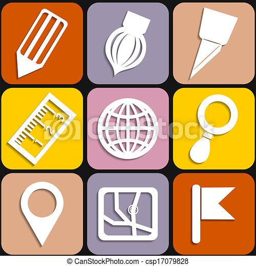 stationery, set, icone - csp17079828