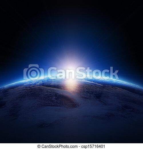 stelle, nuvoloso, terra, alba, sopra, oceano, no - csp15716401