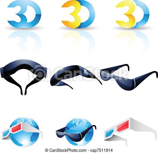 stereoscopic, 3d occhiali - csp7511914