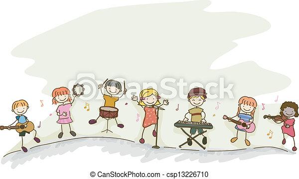 stickman, bambini, musica, gioco - csp13226710
