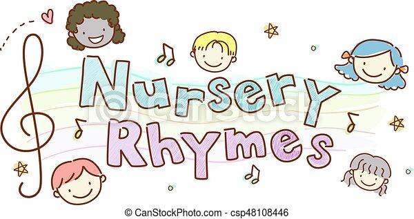stickman, vivaio, bambini, rhymes - csp48108446
