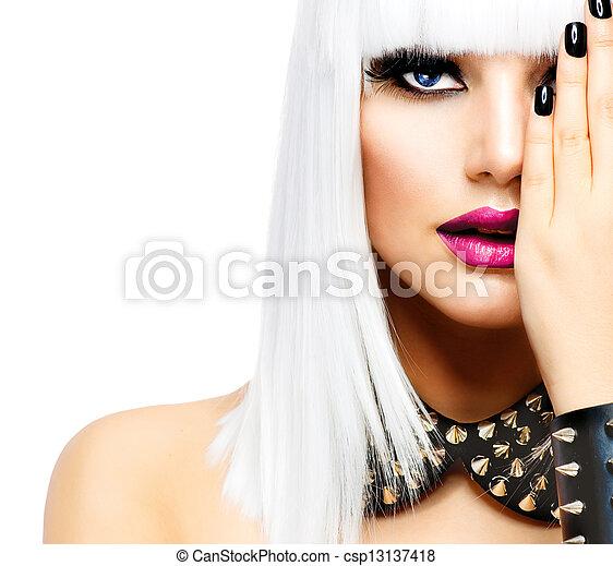 stile, donna, moda, bellezza, girl., isolato, punk, bianco - csp13137418