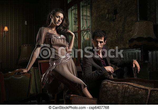 stile, moda, foto, coppia, giovane, attraente - csp6407768