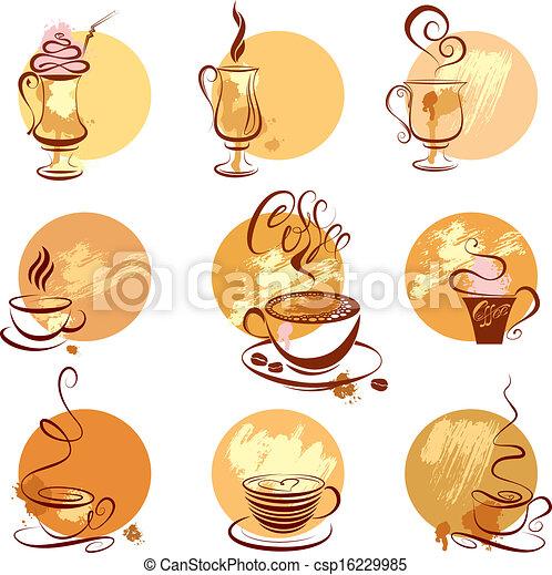 stilizzato, serie caffè, ristorante, campanelle, menu., icone, schizzo, simboli, caffè, o - csp16229985