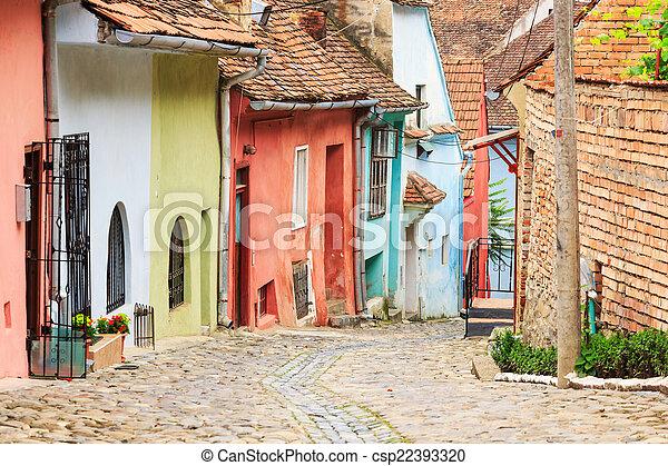 strada, medievale, founded, colonists, sighisoara, saxon, vista - csp22393320