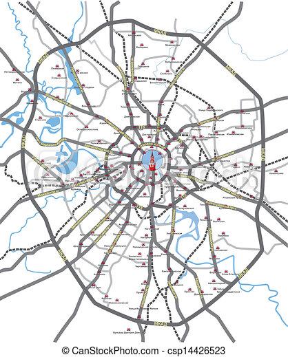 strade, mappa, mosca - csp14426523