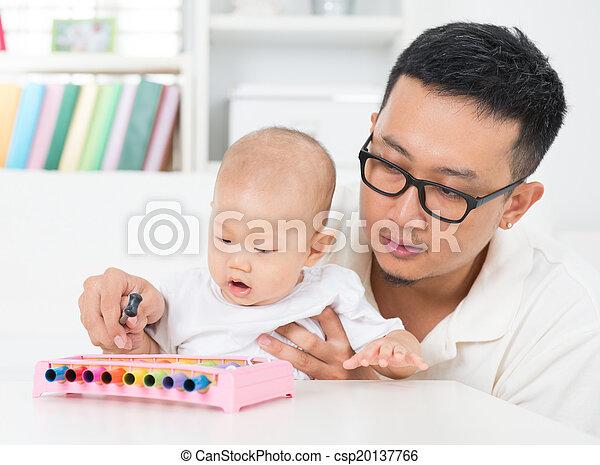 strumento, baby., padre, giocando musica - csp20137766