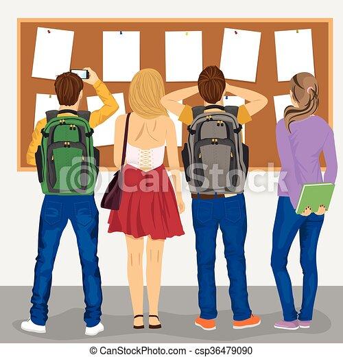 studenti, vista, dall'aspetto, università, indietro, scheda di bollettino - csp36479090
