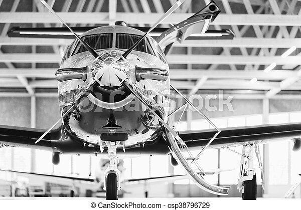 svizzera, 29th, 2010., stans, novembre, pilatus, aereo, turboelica, pc-12, singolo, hangar. - csp38796729
