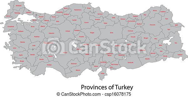 tacchino, mappa, grigio - csp16078175