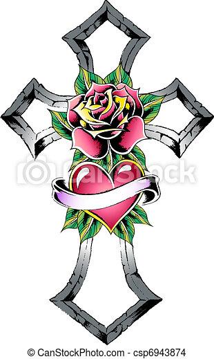 tatuaggio, gotico, croce - csp6943874