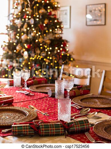 Decorazioni Natalizie In Inglese.Tavola Cracker Natale Inglese Set Albero Pranzo Natale Fondo Tavola Decorato Cracker Canstock