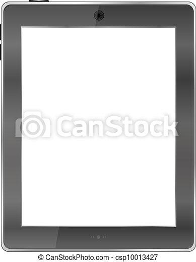 tavoletta, realistico, schermo, isolato, calcolatore pc, fondo, vuoto, bianco - csp10013427