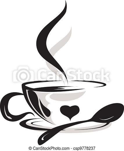 tazza caffè, silhouette, amante - csp9778237