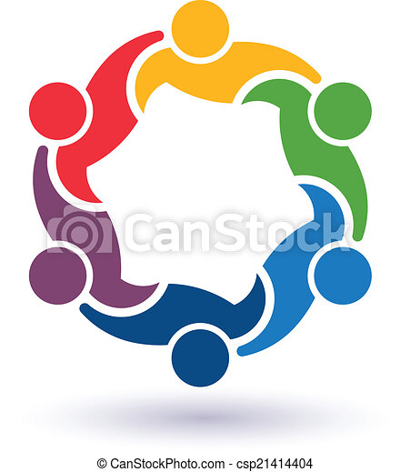 teaming, collegato, persone, 6.concept, altro., felice, porzione, icona, vettore, gruppo, amici, ciascuno - csp21414404