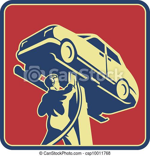 tecnico, automobile, retro, meccanico, riparazione - csp10011768