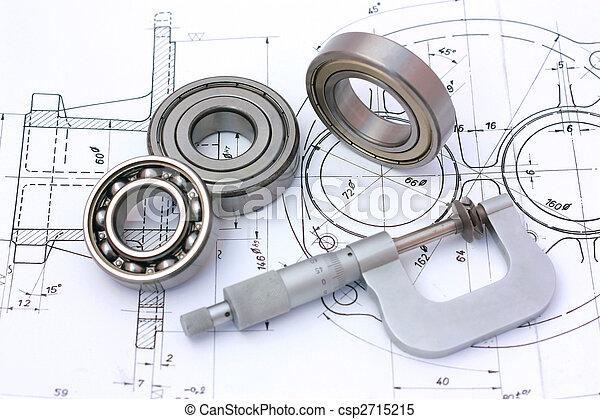 tecnico, cuscinetti, palla, micrometro, disegno - csp2715215