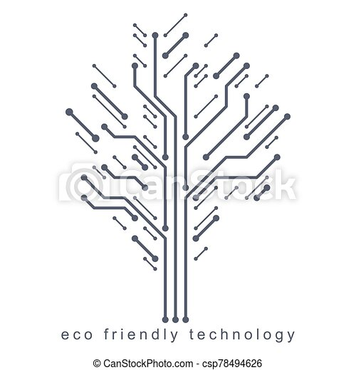 tecnologia amichevole, collegato, concept., eco, albero, wireframe, branches., illustrazione, vettore, creato, linee - csp78494626